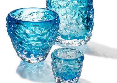 Wave Vasen Und Teelichter 3er Gruppe Blau