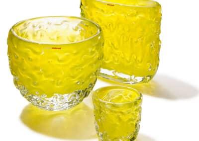 Wave Vasen Und Teelichter 3er Gruppe Gelb