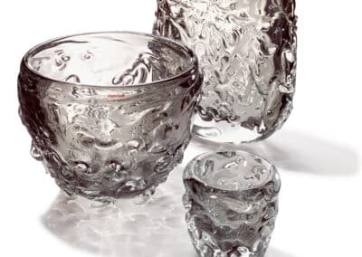 Wave Vasen Und Teelichter 3er Gruppe Grau