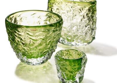 Wave Vasen Und Teelichter 3er Gruppe Gruen
