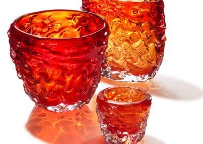 Wave Vasen Und Teelichter 3er Gruppe Rot